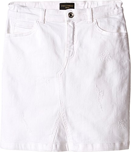 Dolce & Gabbana Kids Girl's Denim Skirt (Big Kids) Antique White 8 (Big Kids) by Dolce & Gabbana