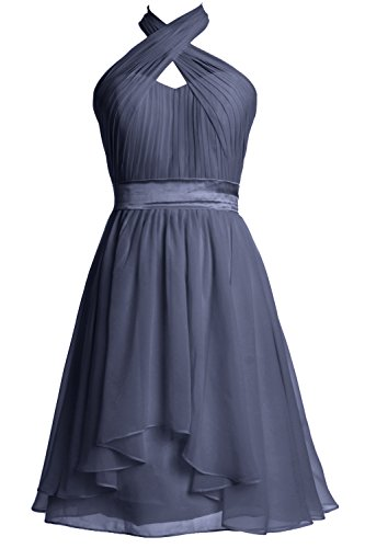 MACloth Women Halter Short Bridesmaid Dress Chiffon Cocktail Party Formal Gown Steel Blue