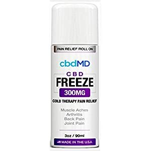 300 mg Organic Roll On Freeze Pain Stress Relief Inflammation Aches Joints Cold Topical Therapy Lotion Vegan USA Grown Hemp Omegas Amino Acids
