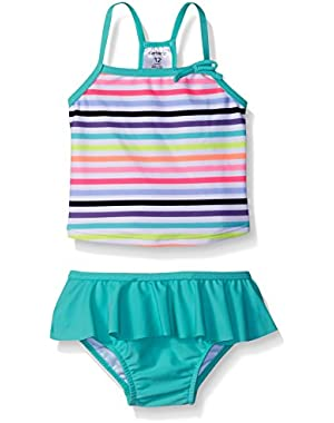 Baby Girls' Two Piece Striped Tankini with Skirt