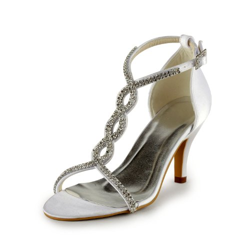 Minitoo GYAYL437 Womens Sparkle Beige Satin Evening Party Bridal Wedding Sandal T-Strap Shoes 7 M US