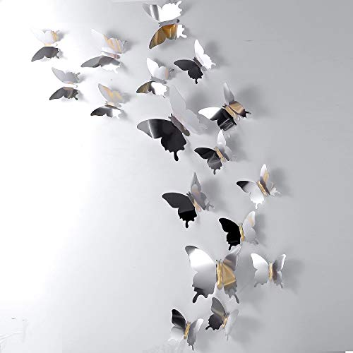 BBTO 48 Pieces DIY Mirror Butterfly Combination 3D Butterfly Wall Stickers Decals Home Decoration (Silver) 1