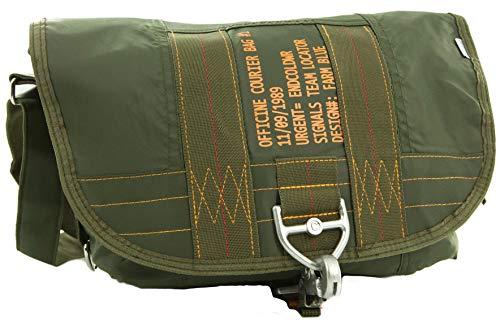 Farm Blue Messenger Bag - Officine Military Shoulder Courier Bag - Olive Drab (Waxed Canvas Messenger Bag Made In Usa)