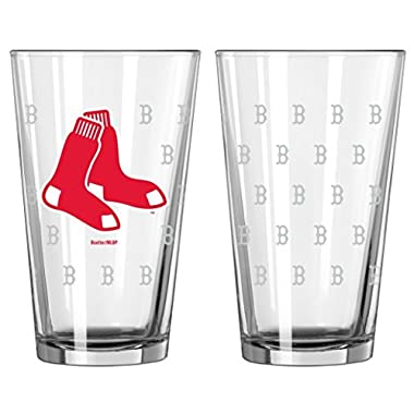 Boelter Brands - Boston Red Sox Satin Etch Pint Glass Set