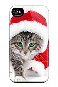 Mialisabblake Scratch-free Phone Case For Iphone 4/4s- Retail Packaging - Cute Santa Cat