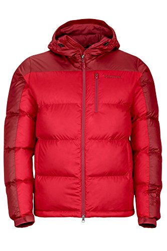 Marmot Guides Down Hoody Men's Winter Puffer Jacket, Fill Power 700, Team Red/Dark Crimson, Small