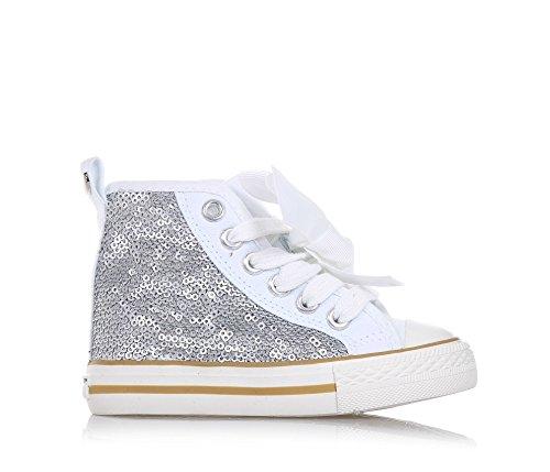 TWIN-SET - Sneaker à lacets argent en paillettes et tissu, originale et à la mode, avec fermeture éclair latérale, Fille, Filles
