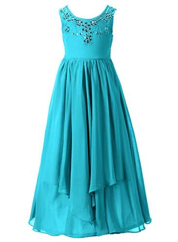 Happy Rose Flower Girl Dress Glitter Chiffon Rhinestone Wedding Maxi Gowns Peacock Blue 18 -