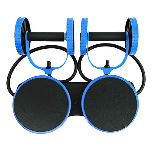 Durable Adjustable Drawstring, Home Silent Abdominal Wheel Fitness Fitness Equipment Roller Dual,Two-Wheeled Abdominal Wheel, Non-Slip (Color : Blue, Size : One Size)