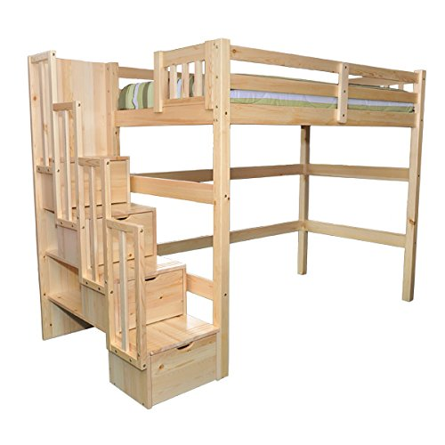 - SCANICA Stairway Full Loft Bed with Storage Natural