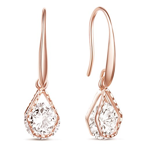 SHEGRACE Wedding Earrings for Bridesmaids, Rose Gold Plated Hook Earrings, Oval Dangle Earring Drop Earrings