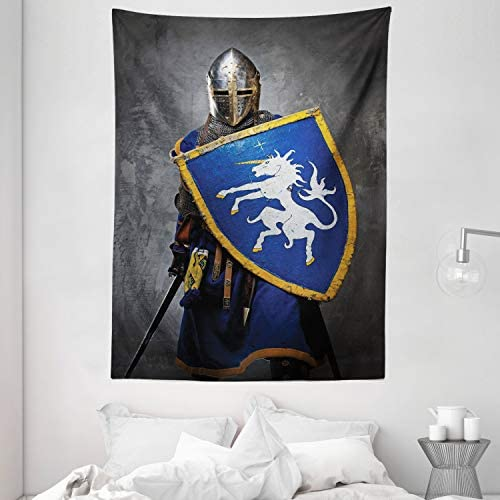 Ambesonne Medieval Tapestry, Medieval Knight Holding an Aged Old Shield Historical Theme Digital Print, Wall Hanging for Bedroom Living Room Dorm, 60 X 80 , Blue Grey