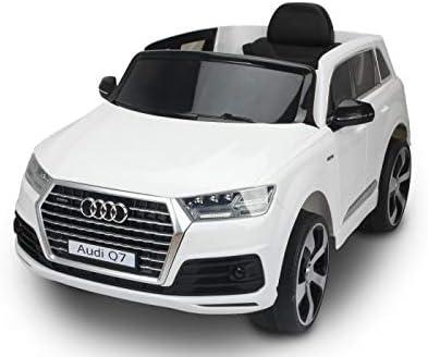 Coche eléctrico para niños Audi Q7 Quattro Nuevo, Rojo, con Licencia Original, Batería, Puertas Que se Abren, Asiento Individual, 2 x Motor, Batería de 12 V, Control Remoto de 2.4 GHz (Blanco)