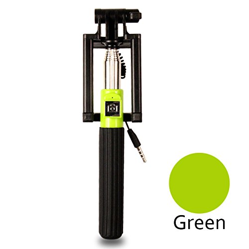 [Green]New Mini Extendable Selfie Stick Monopod Foldable Wired Monopod Tripod Selfie Stick For iPhone Samsung Xiaomi Smartphone Selfie