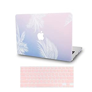 KEC MacBook Pro 13 Case 2017 & 2016 w/ Keyboard Cover Plastic Hard Shell Rubberized A1706/A1708 Touch Bar (Blue Feather)
