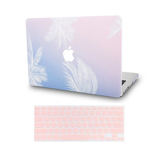 KECC Laptop Case for New MacBook Air 13″ Retina (2020/2019/2018, Touch ID) w/Keyboard Cover Plastic Hard Shell Case A1932 2 in 1 Bundle (Blue Feather)