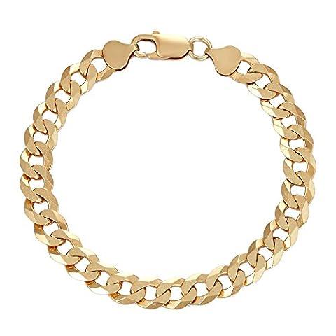 18k Gold Over Sterling Silver Square 8.4 mm Curb Link Chain Bracelet 8