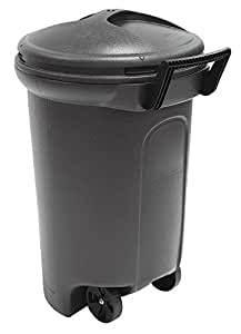 United Solutions TB0042 Thirty Two Gallon/121.1 Liter Critter Proof Black Trash Can with Turn&Lock Lid-32 Gallon Black Wheeled Garbage