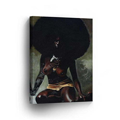A Nude African Woman with Curly Hairs CANVAS PRINT Decorative Art Wall Decor Artwork Wrapped Wood Stretcher Bars - Ready To Hang %100 Handmade in the USA - AfricanV42 by Smile Art Design