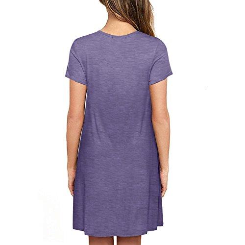 Naokenu Women Short Sleeve Swing Dress with Pockets Casual Loose T-Shirt Dress(S,Purple Gray) by Naokenu (Image #1)