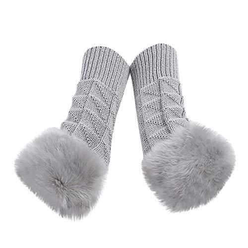 Arm Trim - WM & MW Womens Winter Keep Warm Gloves Fluffy Woolen Knitted Fingerless Gloves Arm Wrist Trim Gloves Mitten (Gray)
