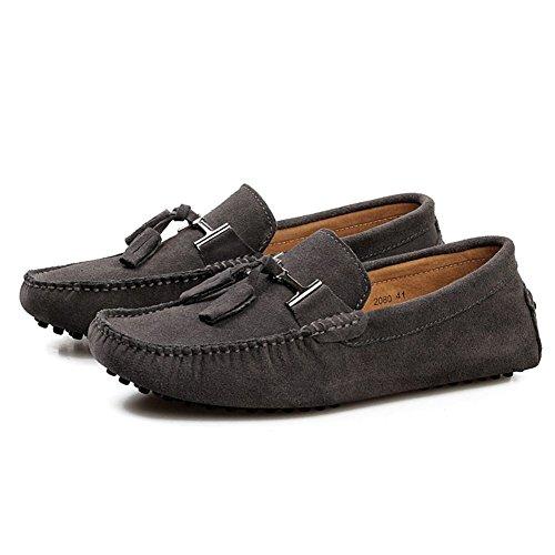 de de Alta Zapatos de Zapatos Cuatro Zapatos Estaciones gris de Cuero Guisantes Metal Calidad Zapatos Oneforus de de Guisantes de Los Hombres de Hebilla Casuales 7YfBqw0d