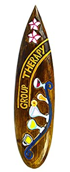 Hand Carved Wooden Group Therapy Cocktails Drinking Surfboard Sign