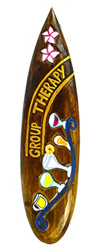 Hand Carved Wooden Group Therapy Cocktails Drinking Surfboard Sign Carved Tiki Surfboard