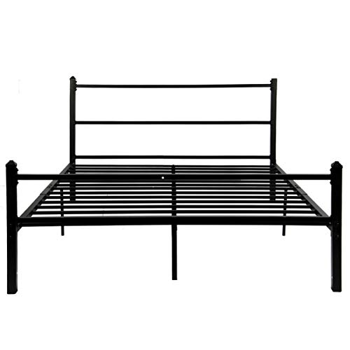 (GreenForest Bed Frame Queen Size No Squeaky Metal Platform Bed with Headboard Non Slip Steel Slat Support Heavy Duty Bed Base Mattress Foundation)