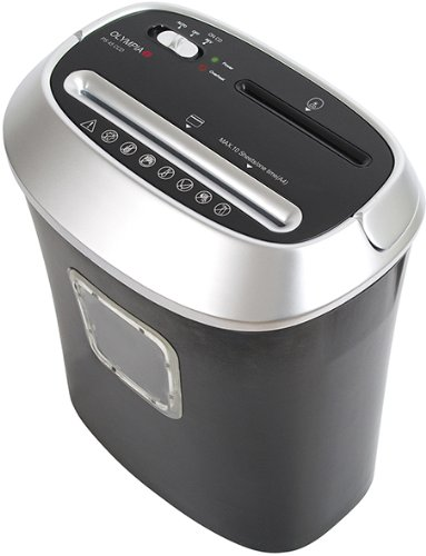 Olympia PS 45 CCD Aktenvernichter, Partikelschnitt 4 x 35 mm, Papierkapazität (80 g/m²), 10 Blatt für CDs, DVDs und Kreditkarten, silber/schwarz