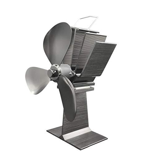 3 cuchillas Ventilador de aire Calentador de estufa de leña Ventilador de aire pequeño motor Quemador de leña duradero...
