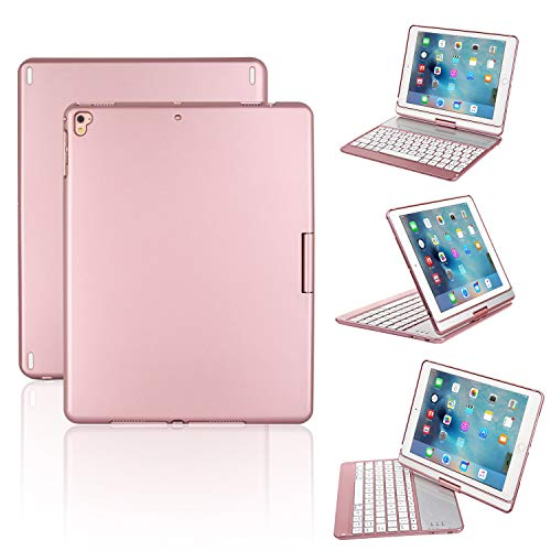 iPad Keyboard Case for iPad 2018 (6th Gen) - iPad 2017(5th Gen) - iPad Pro 9.7 - iPad Air 2 & 1 - Thin & Light - 360 Rotatable - Wireless/BT - Backlit 7 Color - iPad Case with Keyboard (9.7,Rosegold)