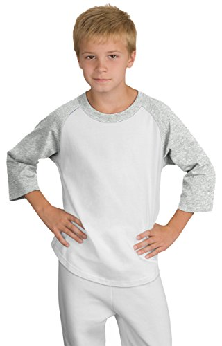 Team Color Ringer T-shirt - Sport-Tek Youth 3/4 Raglan Sleeves Colorblock Jersey_White/ Heather Grey_S