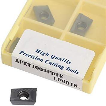 Txrh Drehbank APKT1003 LF6018 Carbide Fräsen DESKAR Cutter CNC-Drehmaschine Schaftfräser Werkzeug for Edelstahl 103 C19 C15 (Angle : 10PCS, Insert Width(mm) : APKT1003PDTR LF6018)