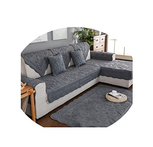 Khaki Grey Floral Embroidery Quilted Sofa Cover Cotton Slipcovers for Living Room Furniture Covers Sectional Couch Covers Black Grey per pic 110cm240cm (Outdoor Jordan Used Furniture Brown)
