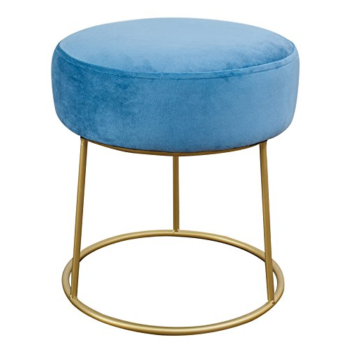 - Tov Furniture TOV-OC3803 The The Nina Collection Modern Velvet Upholstered Round Backless Short Stool with Gold Base, Blue