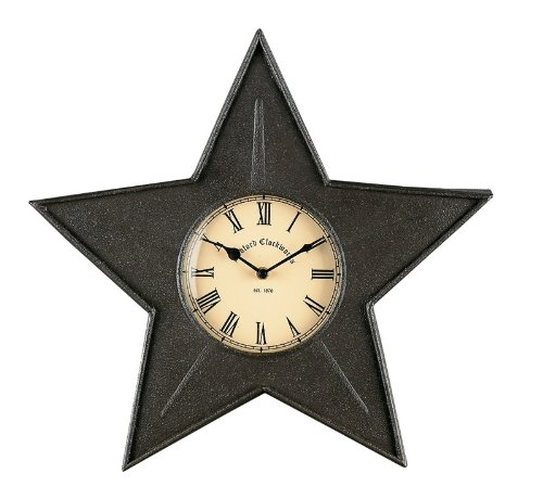 Park Designs Black Star Kitchen Wall Clock - Vintage star-shaped wall clock adds vintage charm and appeal to any home Measures approximately 16 x 16 x 2 inches Made of quality metal material - wall-clocks, living-room-decor, living-room - 417fpBWl9LL -