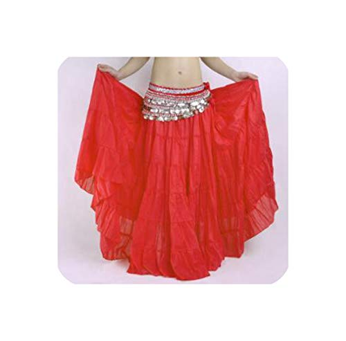 Belly Dance Stage Costume Gypsy Tribal Linen Skirt Dress 10 Colors 96Cm Length,Red,One Size]()