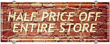 CGSignLab Half Price Off Entire Store 8x3 Ghost Aged Brick Premium Acrylic Sign 5-Pack