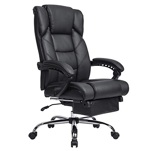 (KADIRYA Reclining Leather Office Chair - High Back Executive Chair with Adjustable Angle Recline Locking System and Footrest, Thick Padding for Comfort and Ergonomic Design for Lumbar Support-Black)