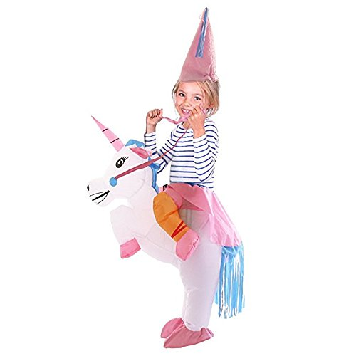 Rider Girl Costume (SmileWoman Inflatable Halloween Party Suit Christmas Party Gift Present Unicorn Rider Suit Costume)