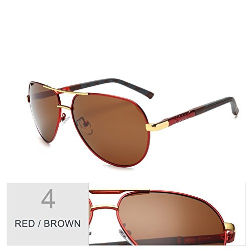 Hombres Lentes Gris Aviador Oval Espejo De Polarizadas TIANLIANG04 Brown Red Gafas Sol Gun Para wagcXxq