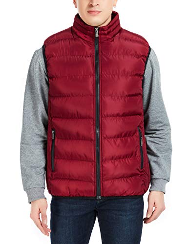 APRAW Men's Down Vest Winter Casual Work Sports Travel Outdoor Padded Puffer Pockets (Wine Red, M)