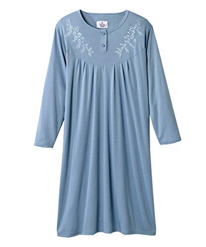 Silvert's Ladies Adaptive Open Back Cotton Hospital Nightgown - Steel Blue XL