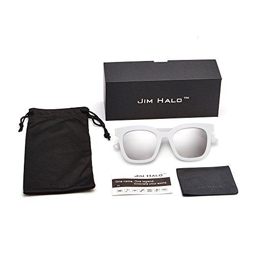 Gafas Blanco de Mujer Diseñador Espejo Oversized Anteojos Sol de Espejo Plano Plateado Tintado Cuadrado PfprWPqxv