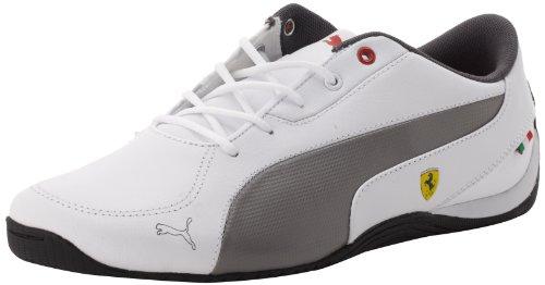 PUMA Drift Cat 5 Leather Ferrari Junior Sneaker (Little Kid/Big Kid),White/Steel Gray,5.5 M US Big Kid ()