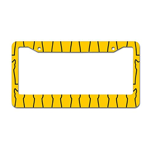 (Yellow Cats Condom Shape License Plate Frame Car Accessory Aluminum Car Licence Plate Covers with 2 Holes, Auto Decor, New Car Gift 6
