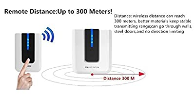 PHYSEN Model Piano Wireless Doorbell Kit with 2 Door Chime and 1 Push Button( Operating Range up to 1000FT/300M ? 52 Chime Tunes ? 4 Volume Levels)