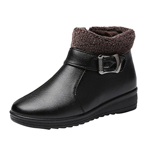 Ankle slip Winter Boots 1 Snow Non Boots Shoes Black Waterproof Womens Flats Warm CHENGYANG Short fwq5vFzw