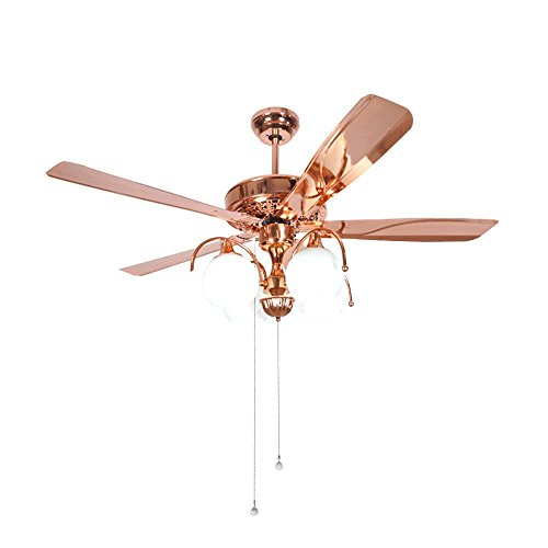 Tropicalfan Vintage Metal Ceiling Fan Remote Control With 4 Milk White Glass Light Cover Home Decoration Living Room Dinner Room Mute Fan Chandelier 5 Iron Blades Rose Gold 48 Inch